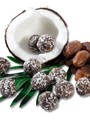 Billes de chocolat cru à la noix de coco