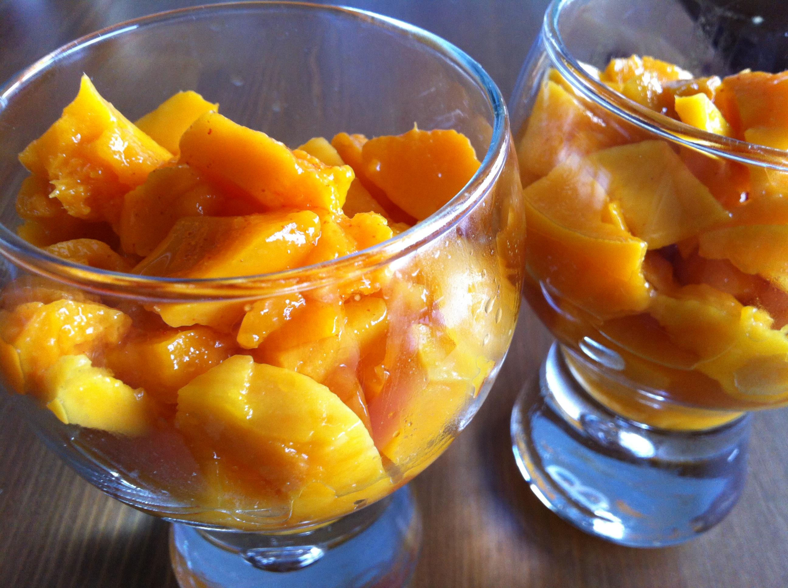 Dessert mangue au piment et citron vert