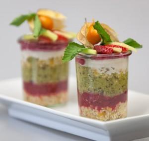 Dessert au kiwi et aux myrtilles