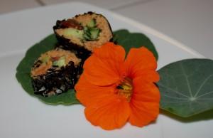 Sushis crus au marc de jus de légumes